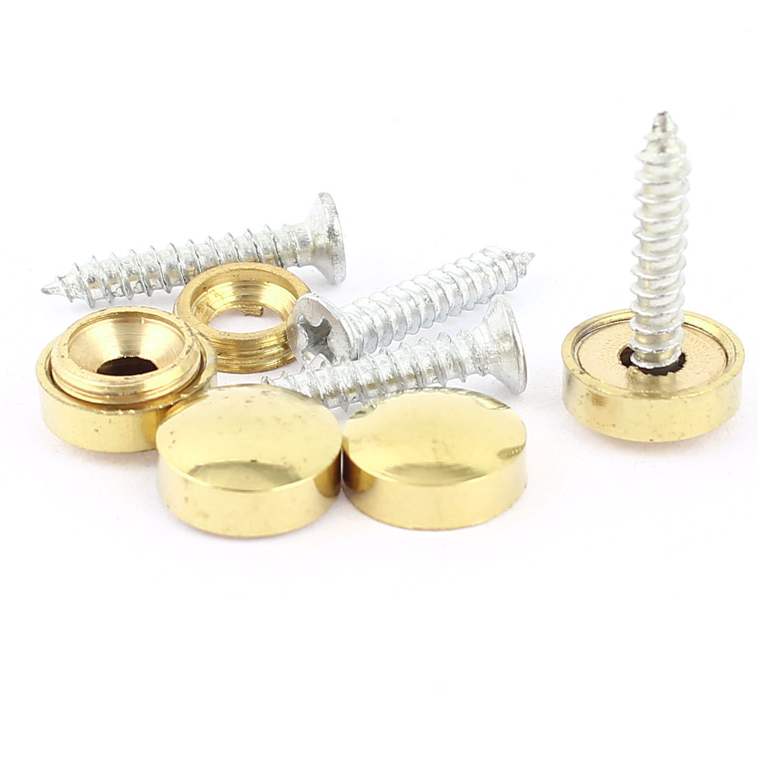 4 Pcs Fitting Parts Brass Tone 12mm Diameter Screw Cap Mirror Nails Decoration Lid