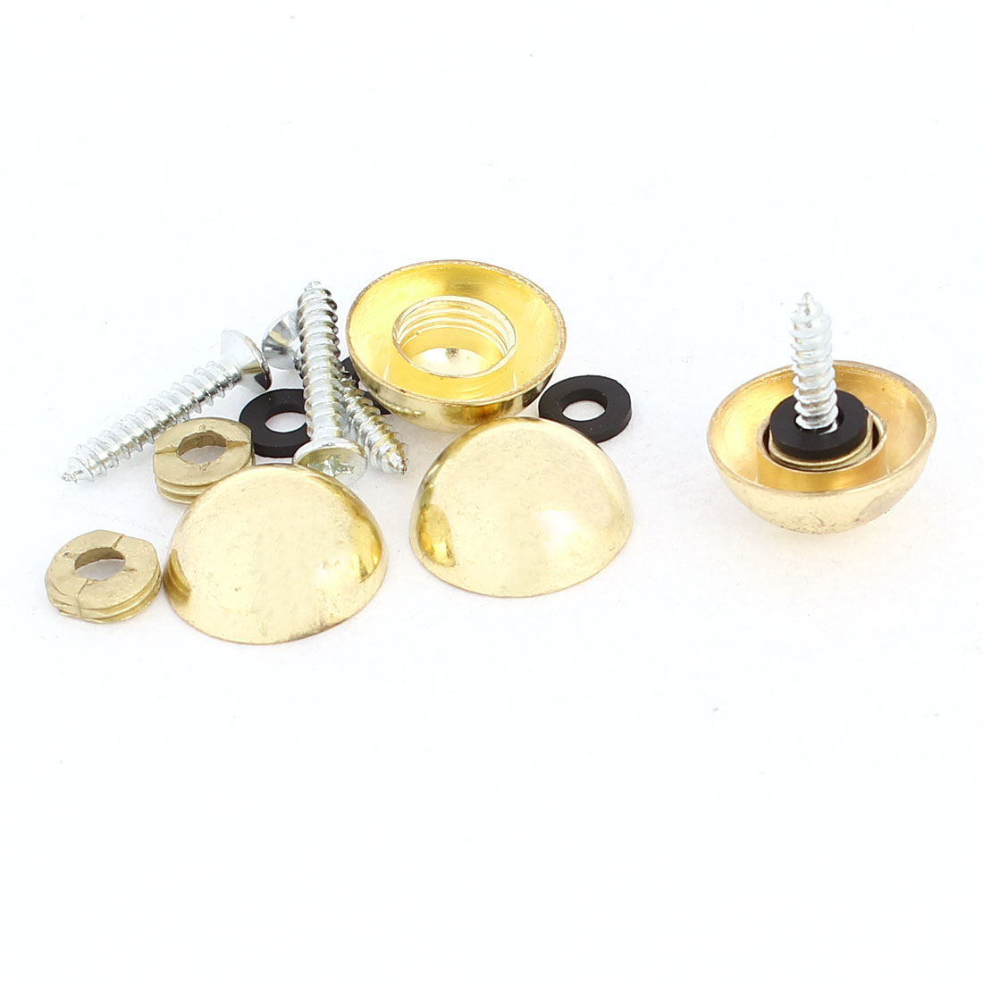 4 Pcs 18mm Dia 10mm Height Zinc Alloy Dome Glass Mirror Screw Cap Gold Tone