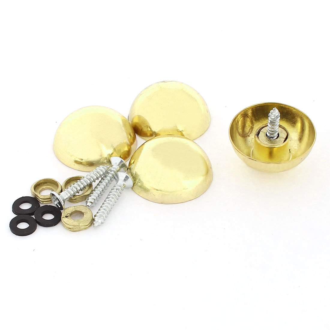 4 Pcs 27mm Dia 16mm Height Zinc Alloy Dome Screw Mirror Nail Caps Gold Tone