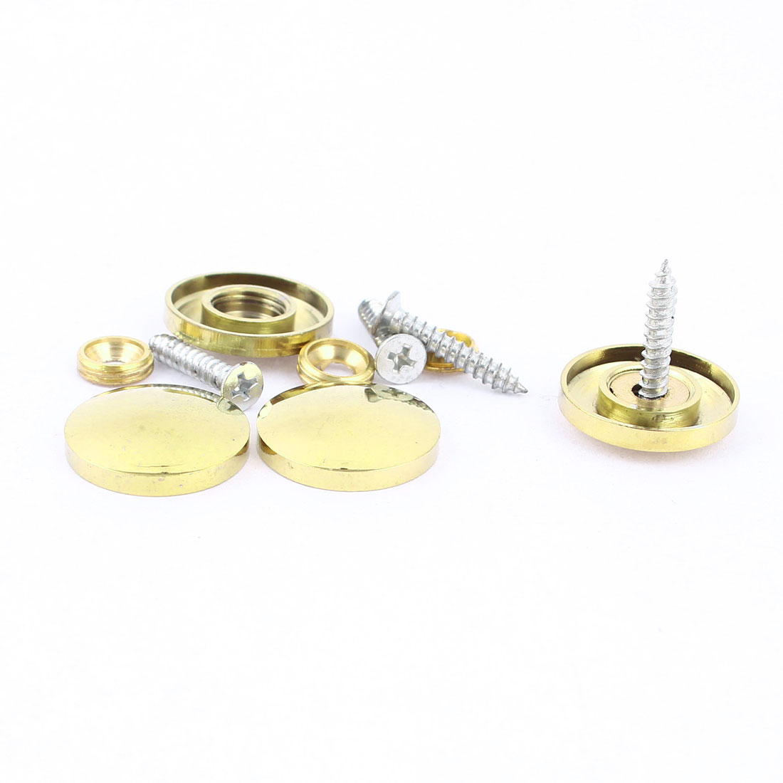 4 Pcs Fitting Parts Brass Tone 22mm Diameter Screw Cap Mirror Nails Decoration Lid