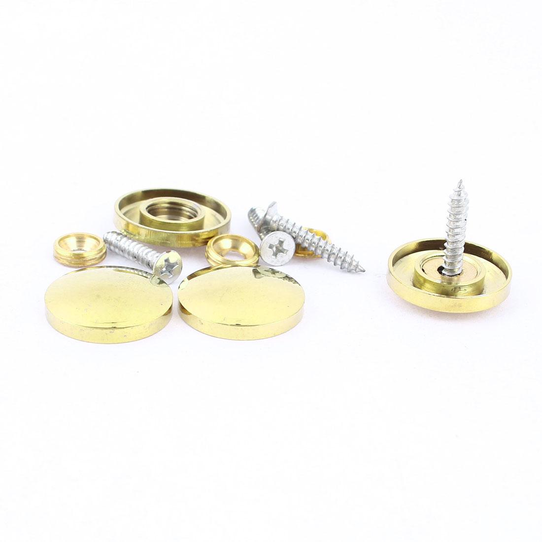 4 Pcs Fitting Parts Brass Tone 22mm Diameter Screw Cap Mirror Nails Decoration Lid