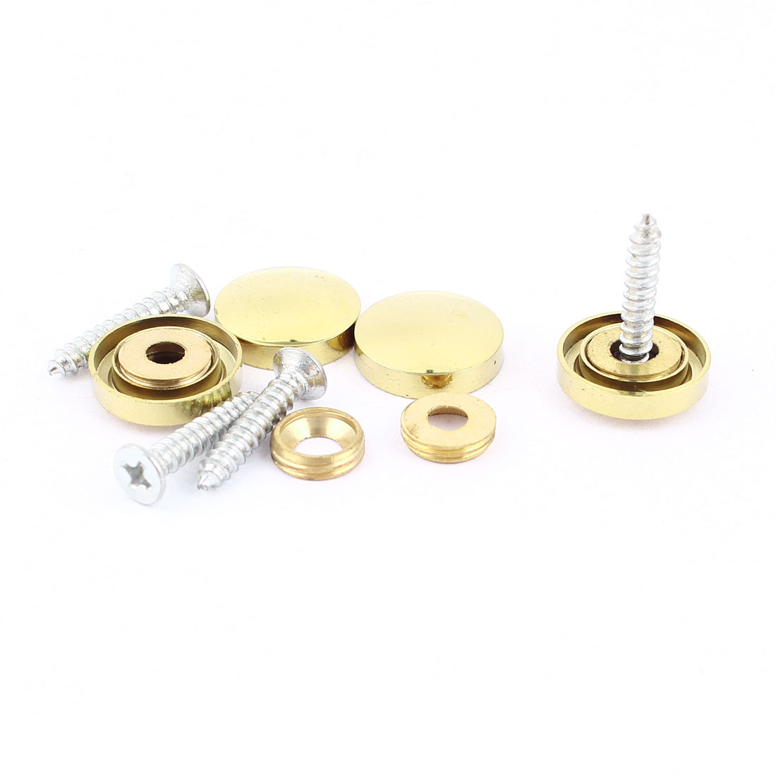 4 Pcs Fitting Parts Brass Tone 16mm Diameter Screw Cap Mirror Nails Decoration Lid