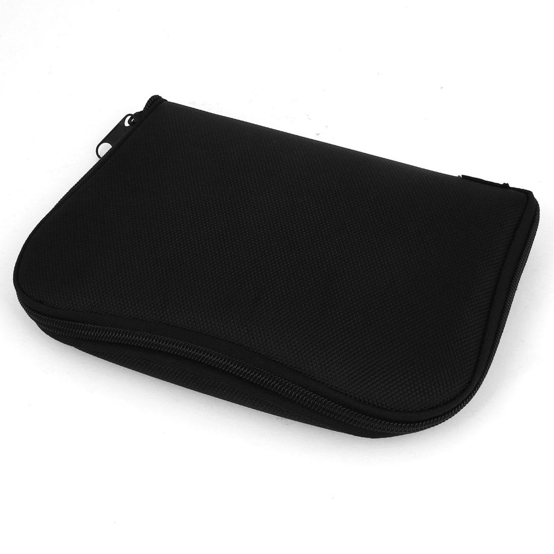 Zipper Closure Black Nylon 2 Compartment Foldable Tool Holder Bag