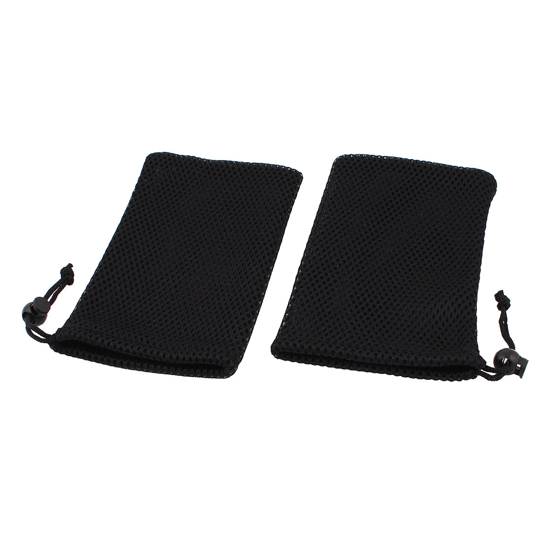 2 Pieces Mesh Mp3 Mp4 Cell Phone Mobilephone Pouch Bag Black