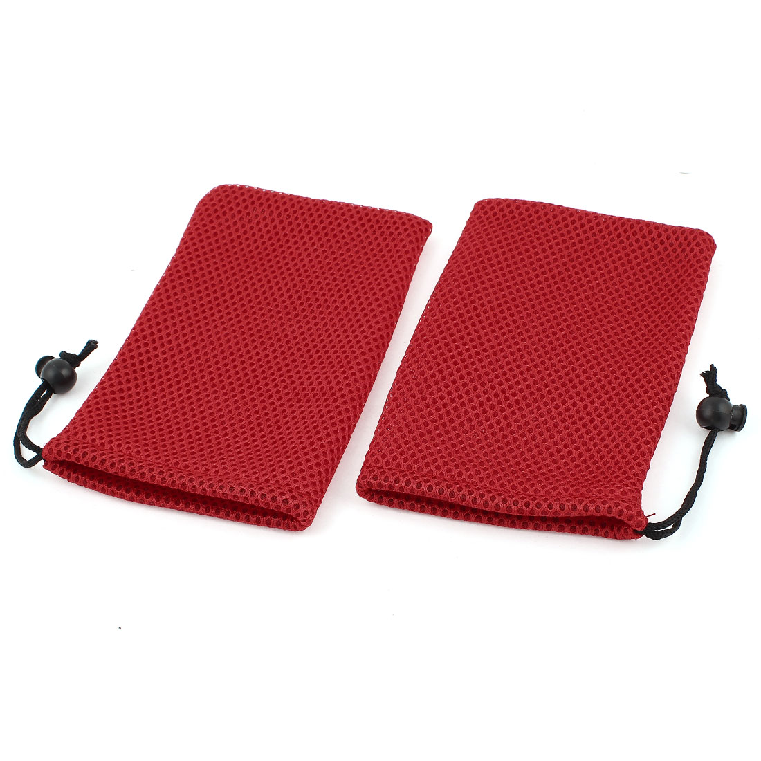 2 Pieces Red Mesh Mp3 Mp4 Cell Phone Mobilephone Pouch Bag