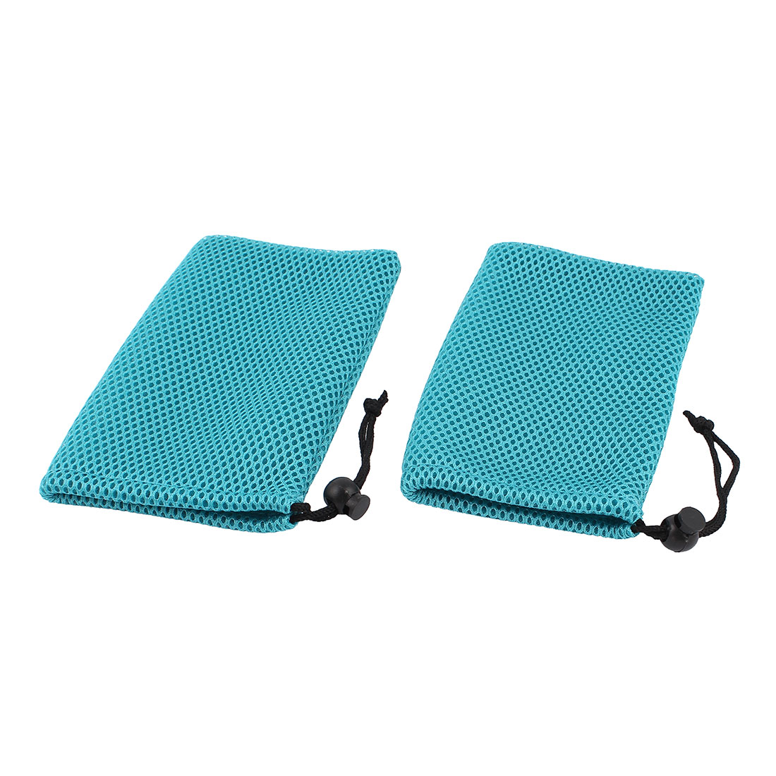 2 Pieces Teal Mesh Mp3 Mp4 Cell Phone Mobilephone Pouch Bag
