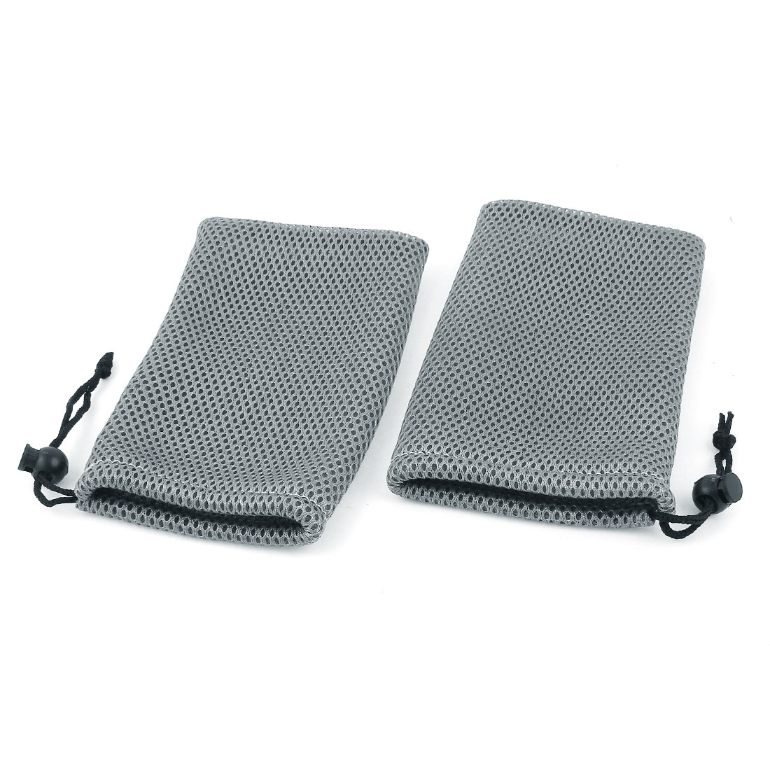 2 Pieces Dark Gray Mesh Mp3 Mp4 Cell Phone Mobilephone Pouch Bag
