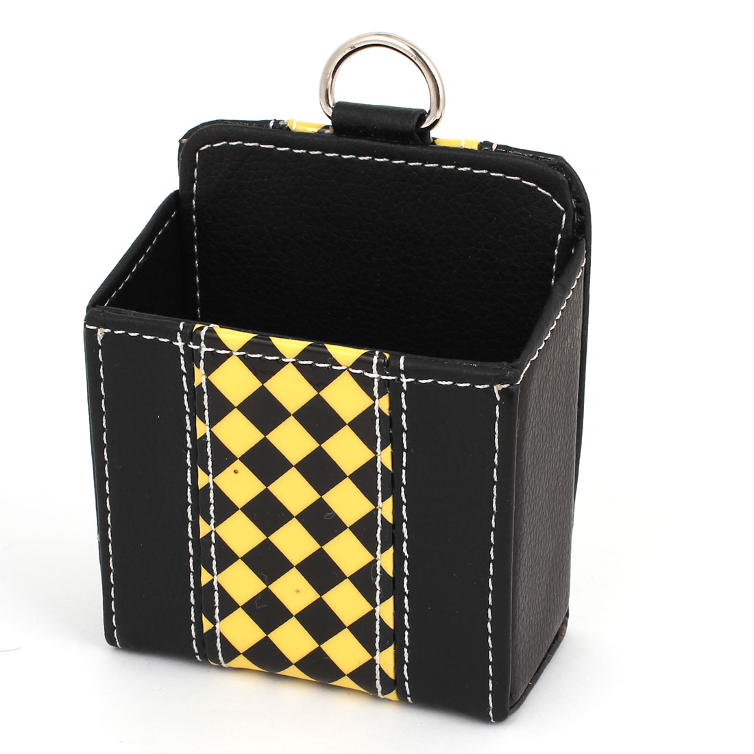 Auto Car Air Vent Black Yellow Faux Leather Cell Phone Pouch Holder Case Bag