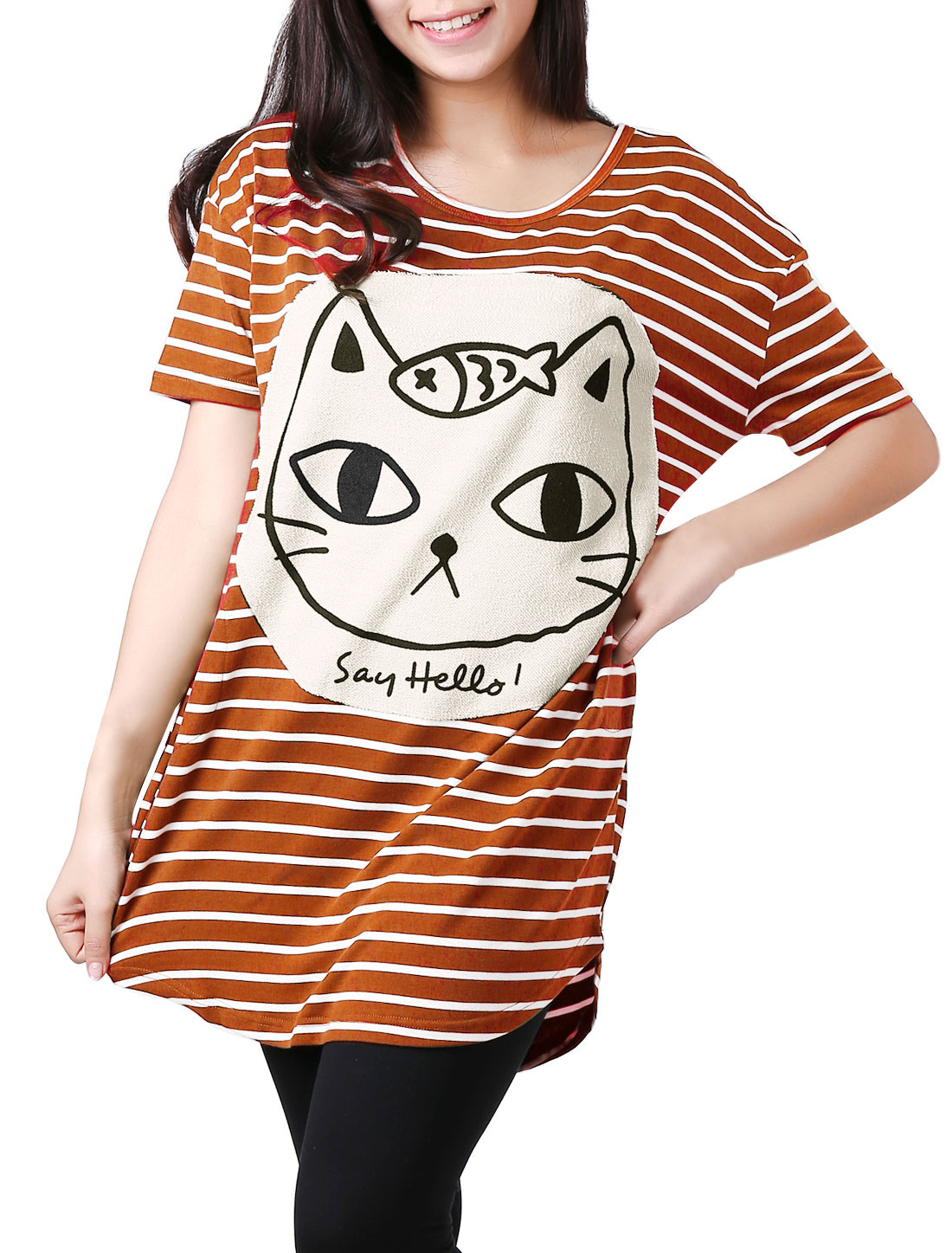 Women Short Sleeves Stripes Cartoon Cat Applique Tunic Shirt Dark Orange XS