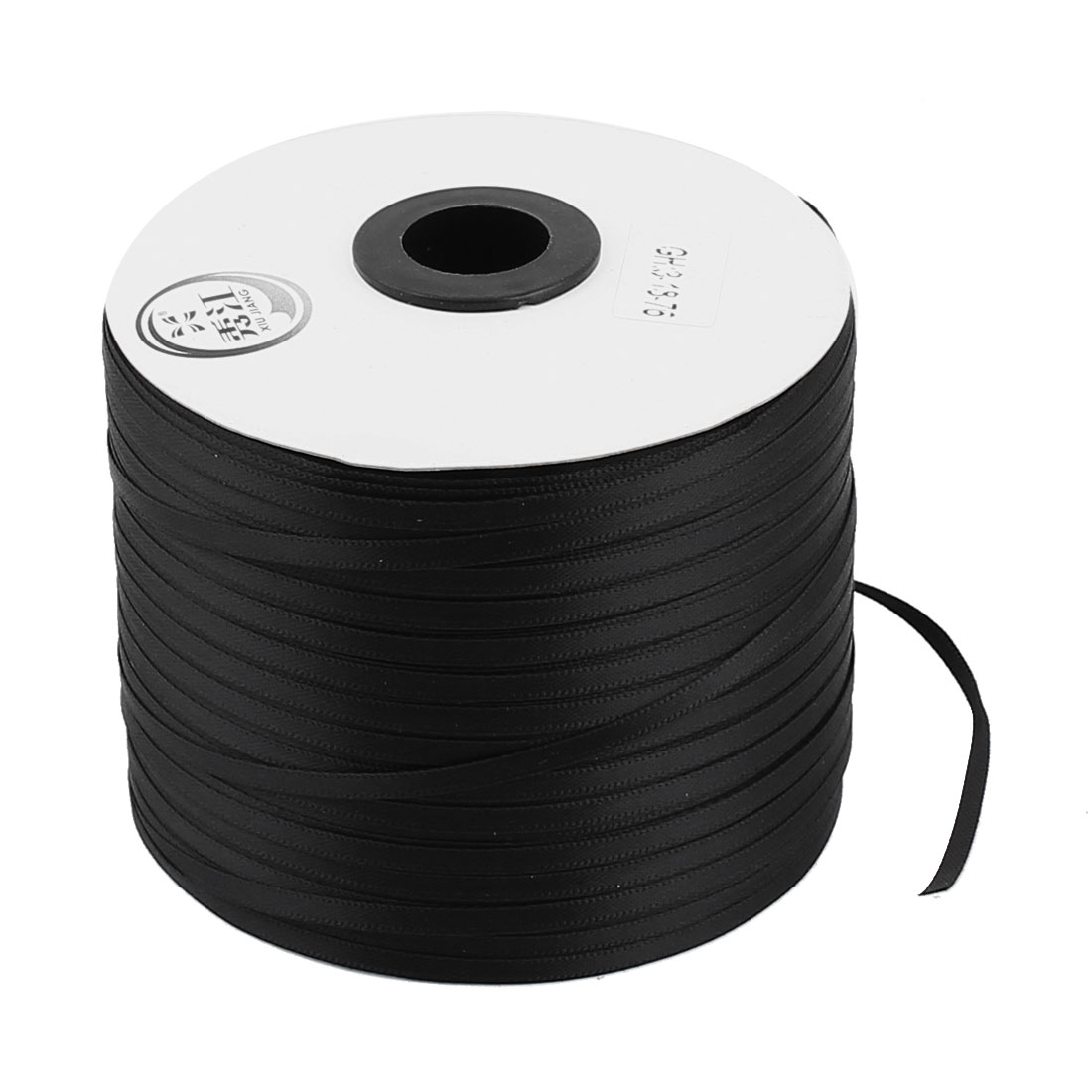0.3cm Width DIY Craft Gift Package Polyester Ribbon Roll Tape Black 500 Yard Length