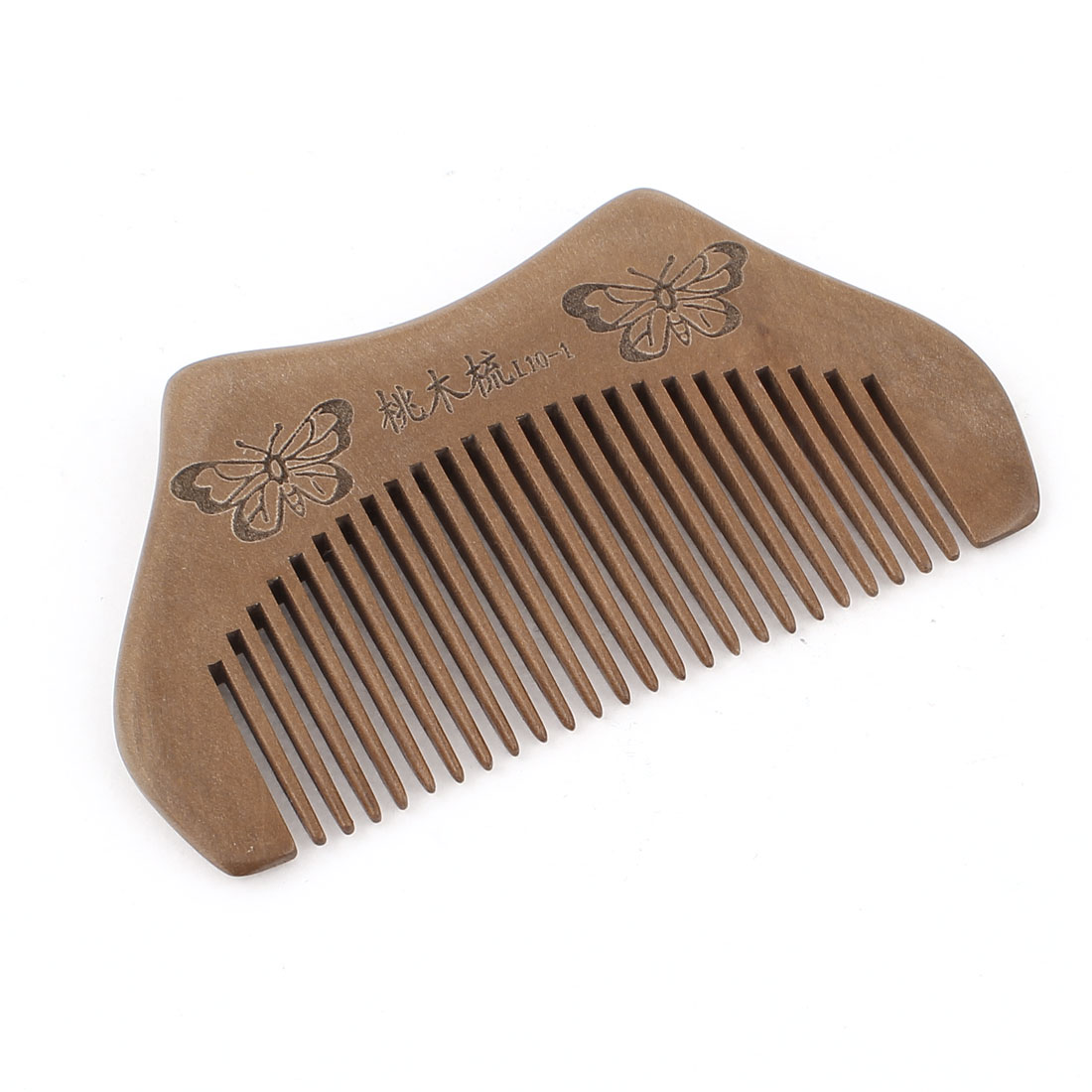 "Portable Wooden Butterfly Pattern Hair Care Hand Craft Comb 3.7"" Length"