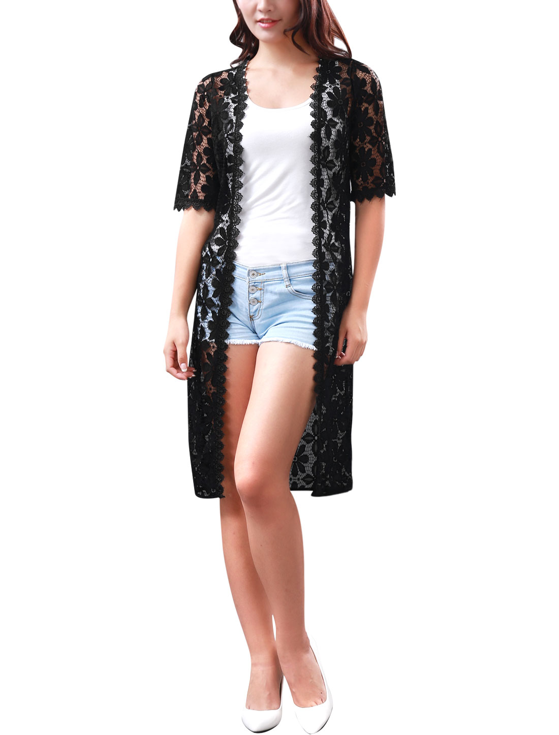 Women Half Sleeves Flower Design Crochet Trim Long Lace Cardigan Black L