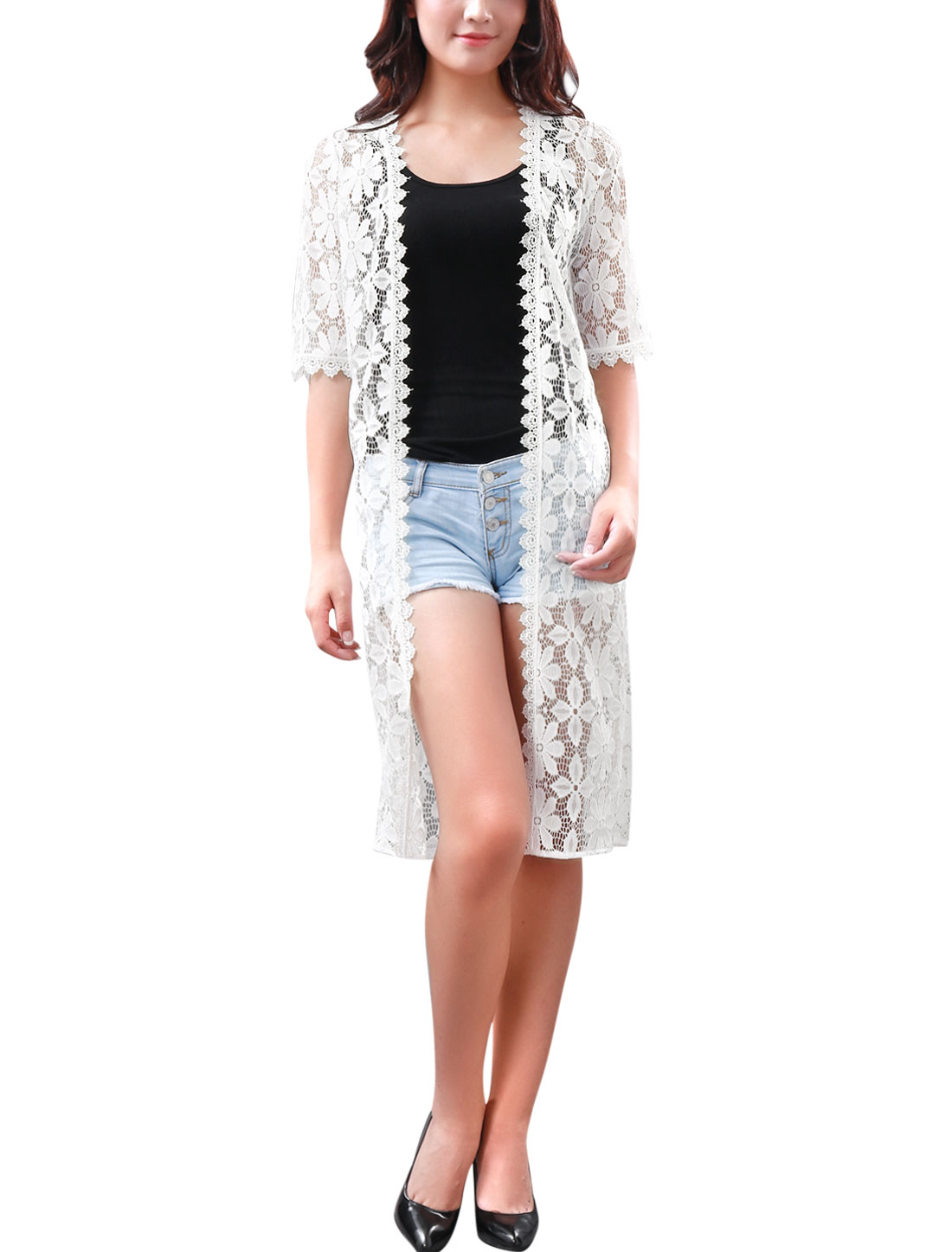 Women Front Opening Flower Design Crochet Trim Long Lace Cardigan White M