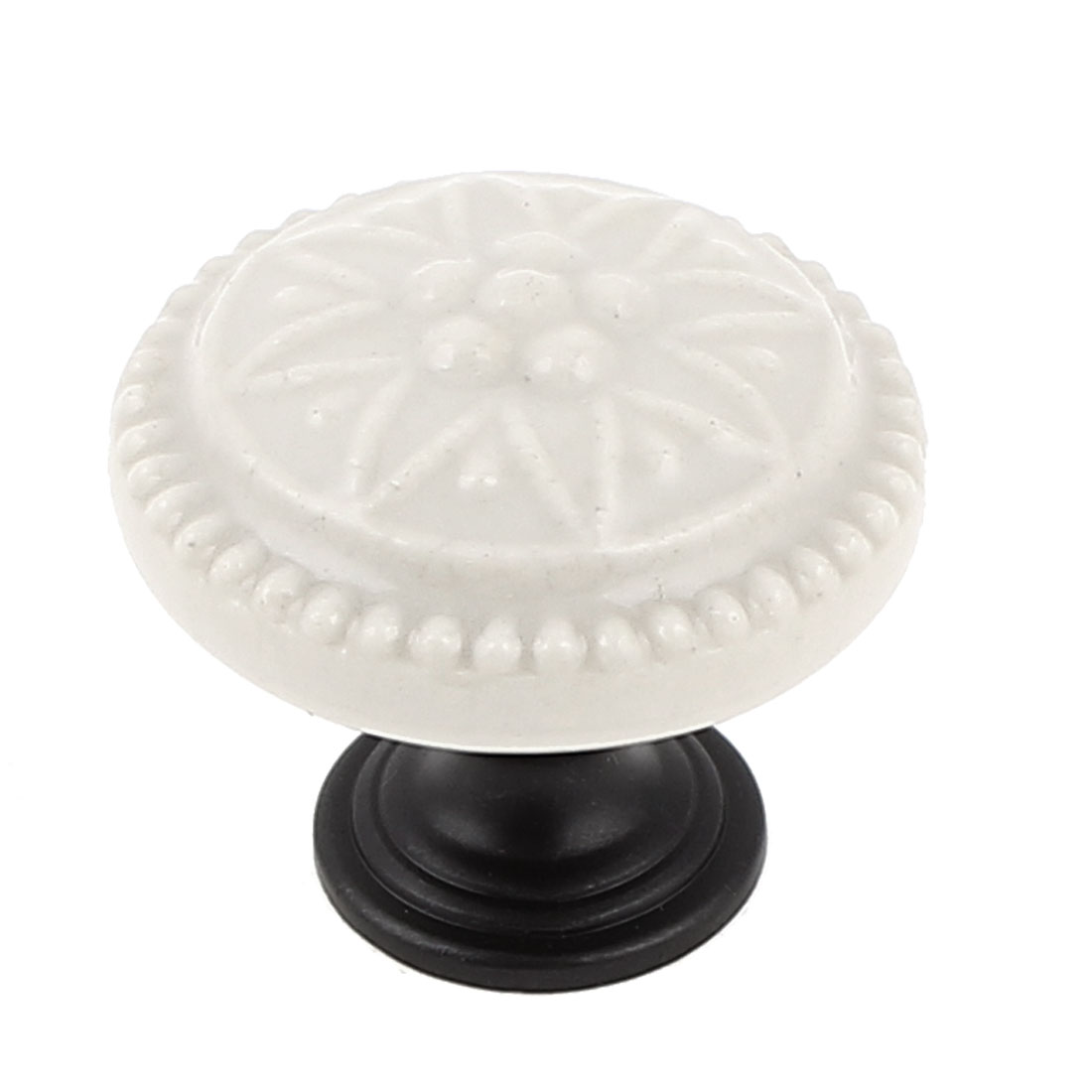 Ceramic Round Shaped Cupboard Dresser Drawer Door Pull Knob Off White