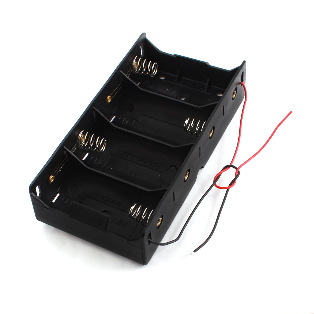 Spring Load Rectangle Black Plstic 4 x C Size Battery Dry Cell Holder Box Storage Case