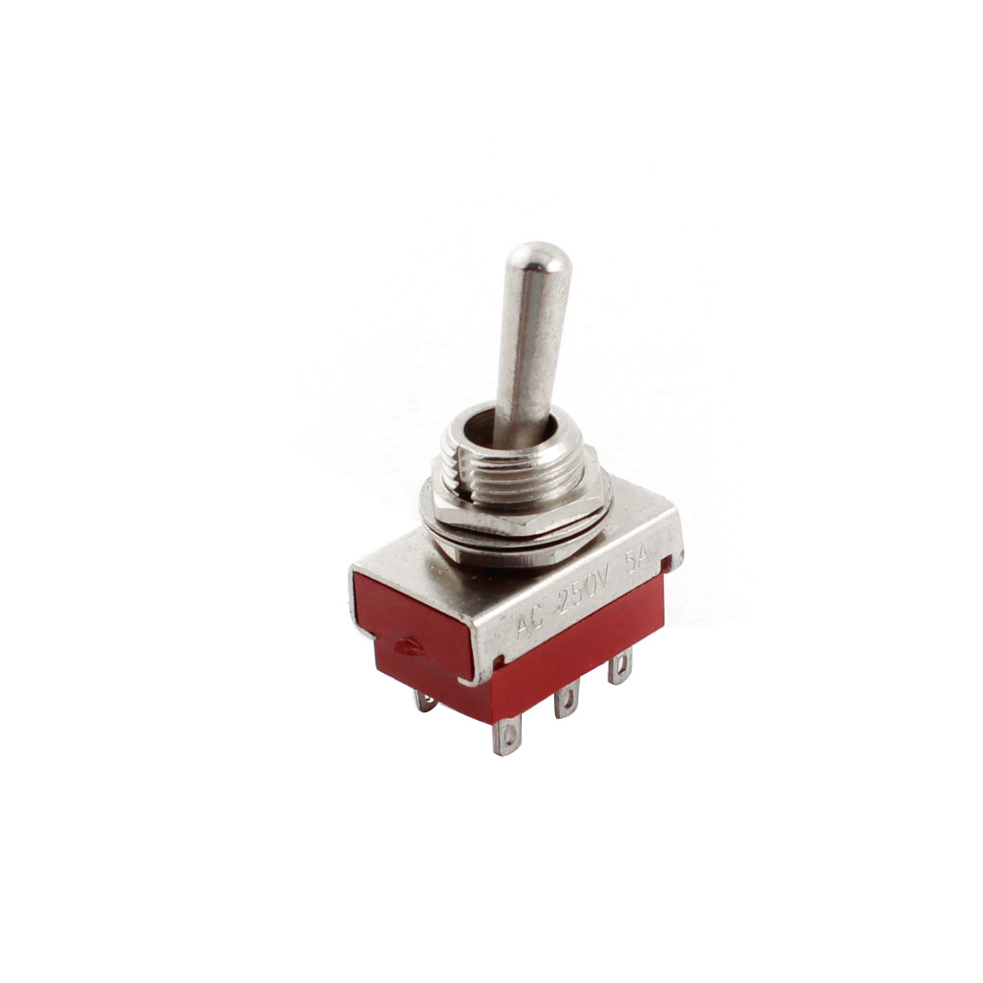 AC250V 5A 12mm Dia Thread Panel Mount DPDT 6-Pin 2-Position Latching Toggle Switch Red