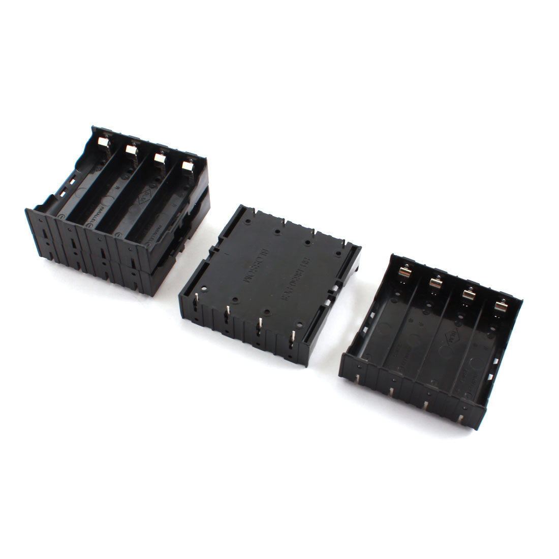 Open Frame 8-Pin Plug in Type Black Rectangle Plastic 4 x 3.7V 18650 Battery Holder Socket Storage Case Box 4Pcs