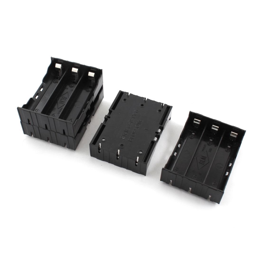 4Pcs Open Frame Rectangle Black Plastic Battery Storage Case Holder Box for 3 x 3.7V 18650