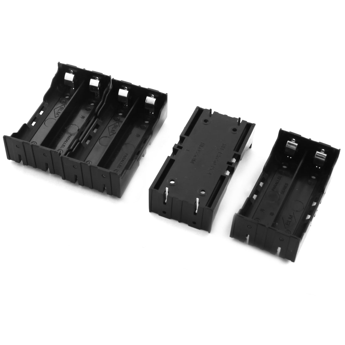 Open Frame 4Pin Plug in Type Black Rectangle Plastic Shell 2 x 3.7V 18650 Battery Holders Cases Boxes 4Pcs