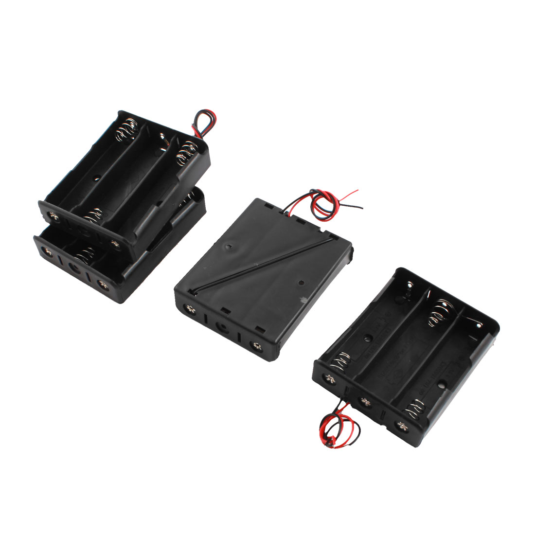 Spring Load Open Frame 2-Wired Rectangle Black Plastic 3 x 3.7V 18650 Battery Holder Case Box 4 Pcs