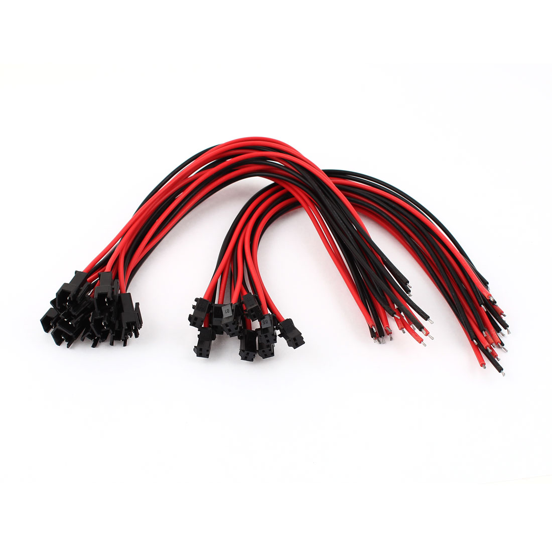 10 Pairs Black Red 25cm Long 2-Terminal EL Wires Pigtail Connector