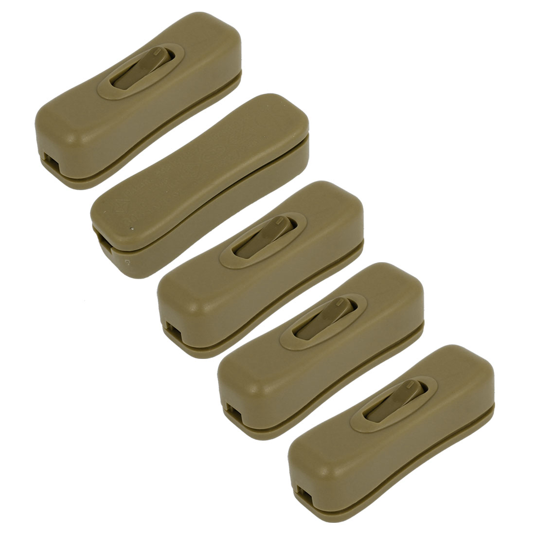 5pcs 1A AC125V Bedroom Table Lamp Controller Inline Cord Rocker Switch Army Green