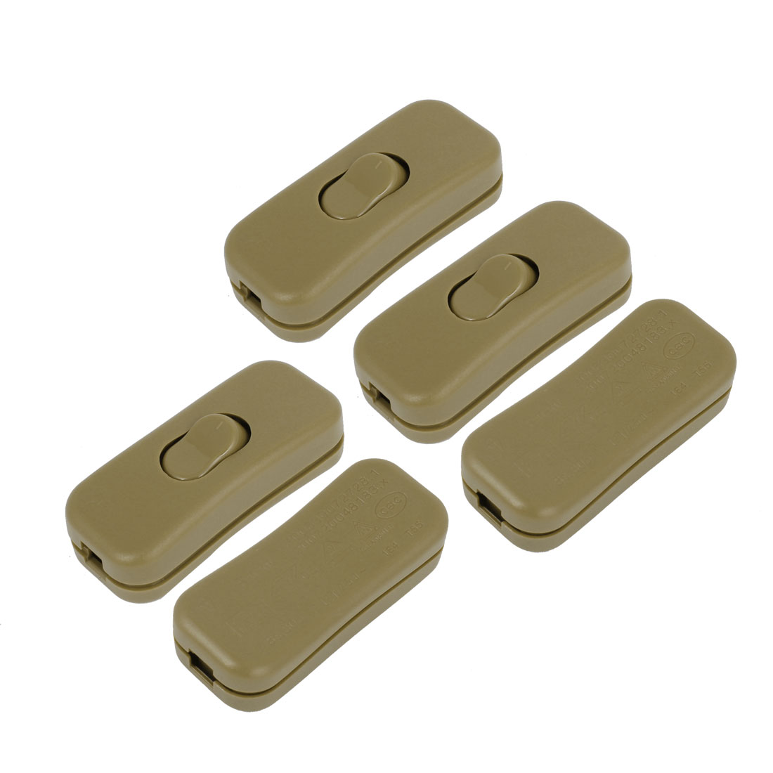 5pcs 1A AC250V Bedroom Table Lamp Controller Inline Cord Rocker Switch Army Green