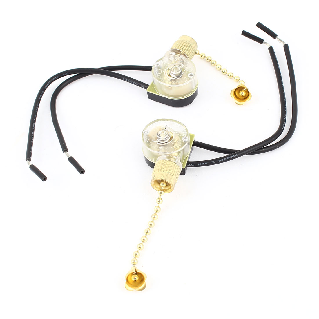 2PCS AC 3A 250V 6A 125V Wired Connector Ceiling Fan Pull Chain Switch Gold Tone