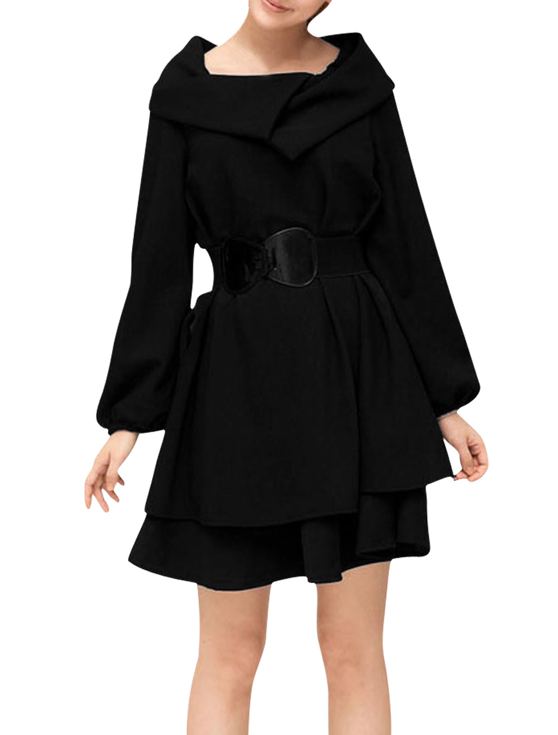 Ladies Turn Down Collar Above Knee Belted Tiered Dress Black XS