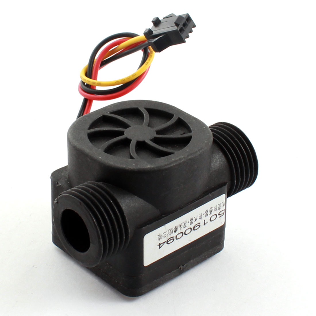 DC5-12V 0-2MPa 20mm Black Plastic Water Liquid Fluid Flow Sensor Flowmeter