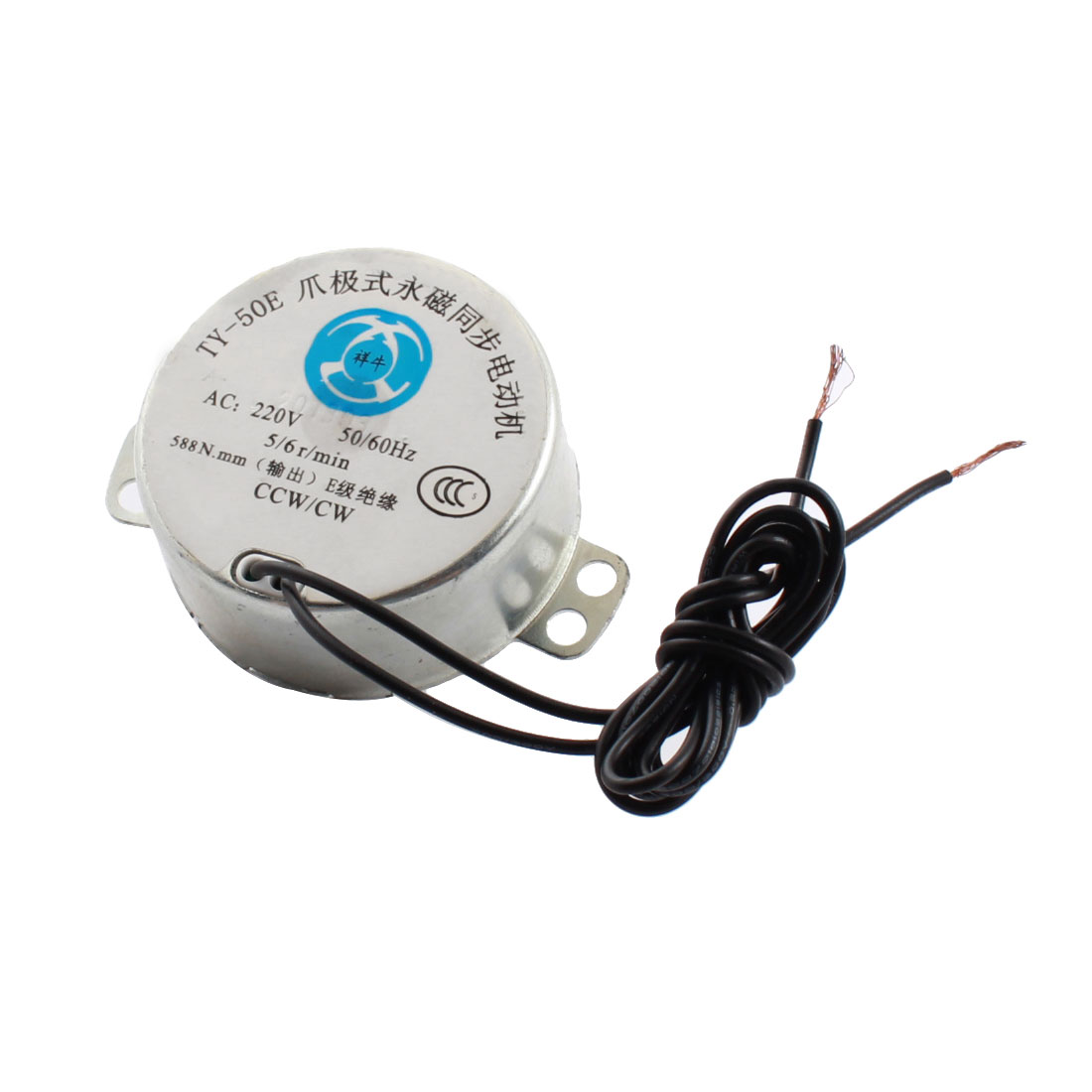 AC 220V 5/6RPM Speed Output 4mm Dia Hole 2-Wire Metal Shell CW/CCW Rotating Synchronous Electric Motor