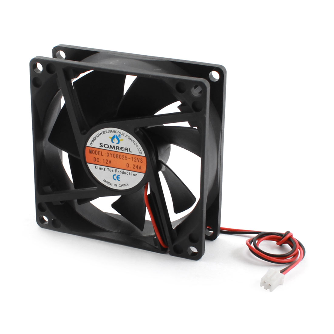 DC 12V 80mm x 25mm 2Pin JST-XH Connector Black Plastic Heat Dissipation Cooling Fan Cooler Heatsink for Computer Cases