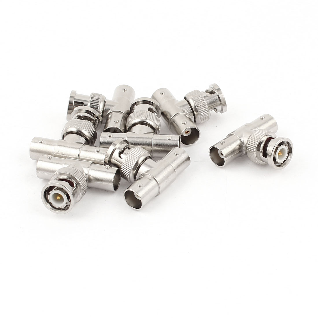 7pcs Silver Tone Metal BNC Male to 2 BNC Female T Connector Adapter
