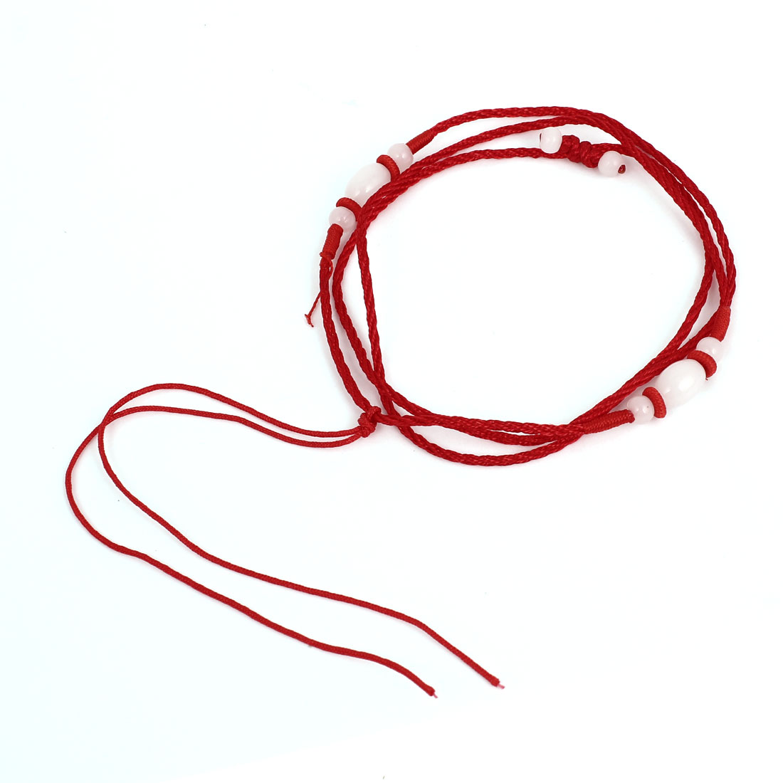 Red Nylon Handmade Braided Beaded Decor Adjustable Necklace String