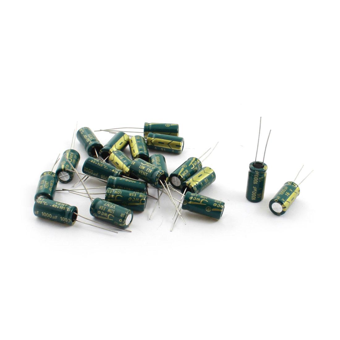 20pcs Radial Lead Electronic Elements Electrolytic Capacitors 1000uF 16V 105C