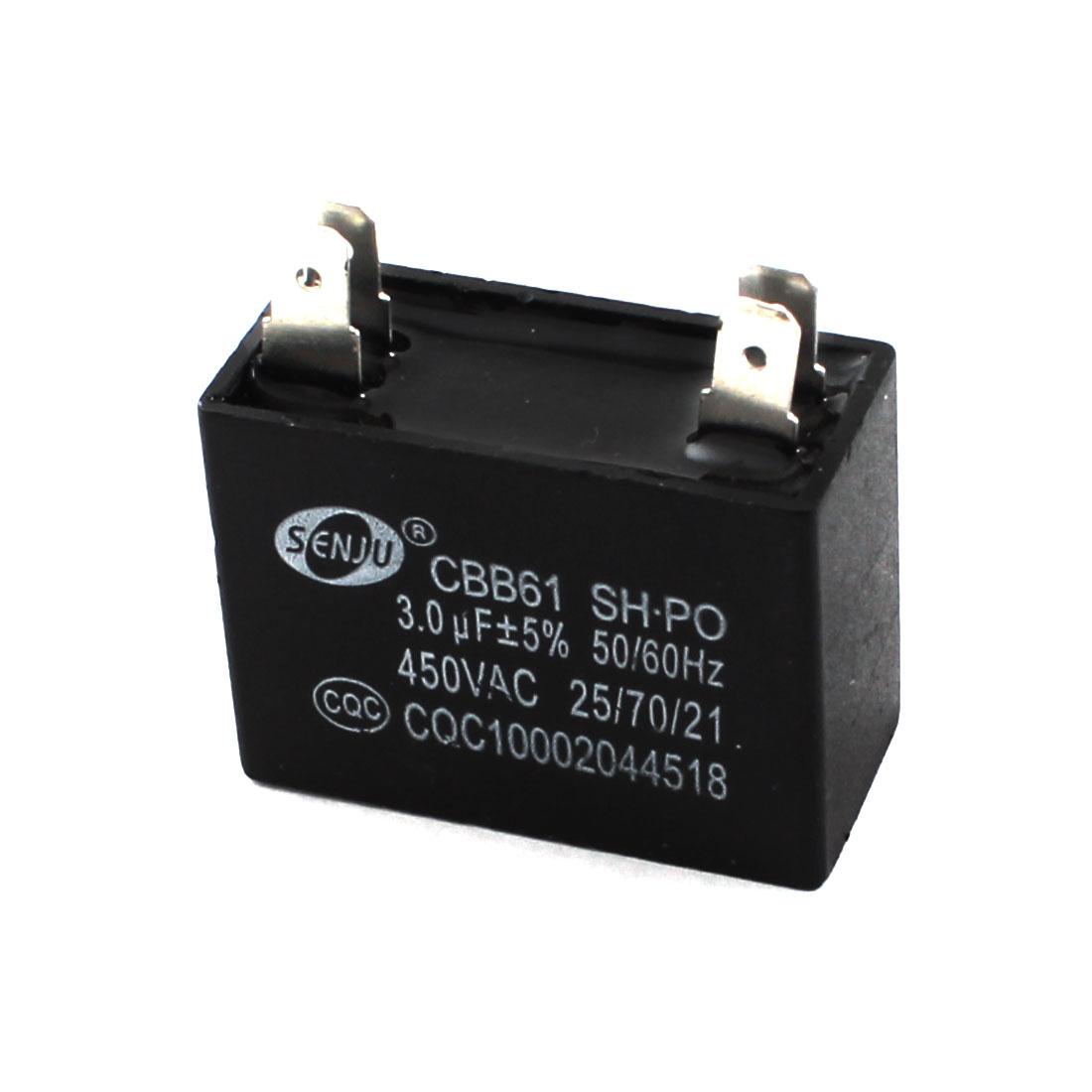 CBB61 AC 450V 3uF 5% Tolerance Square Polypropylene Film Capacitor