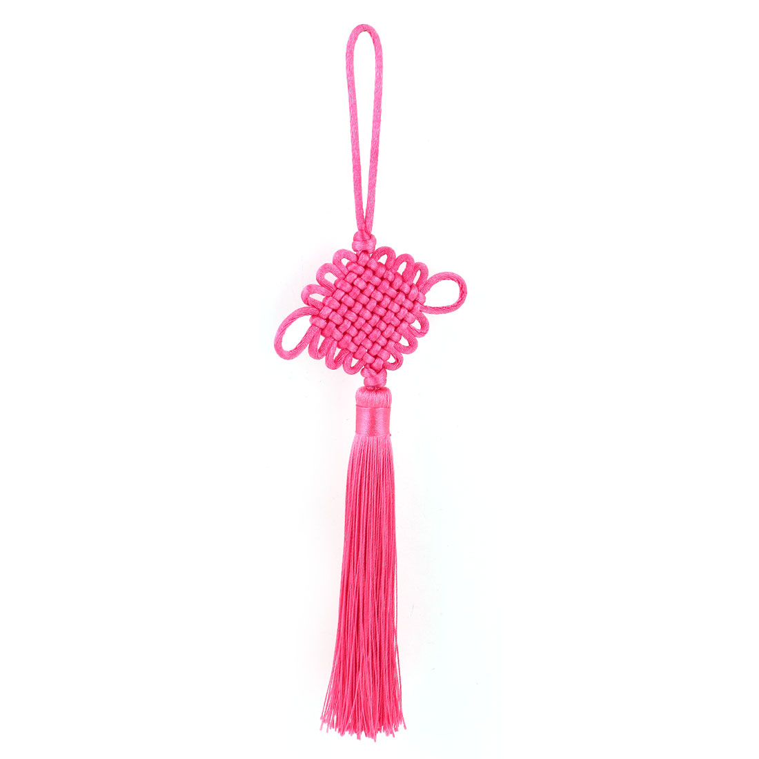 Car Truck Decor Handmade Braid Tassel Chinese Knot Ornament Fuchsia 30cm