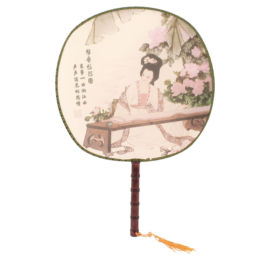 Bamboo Handle Multi Color Flower Letters Print Round Hand Fan