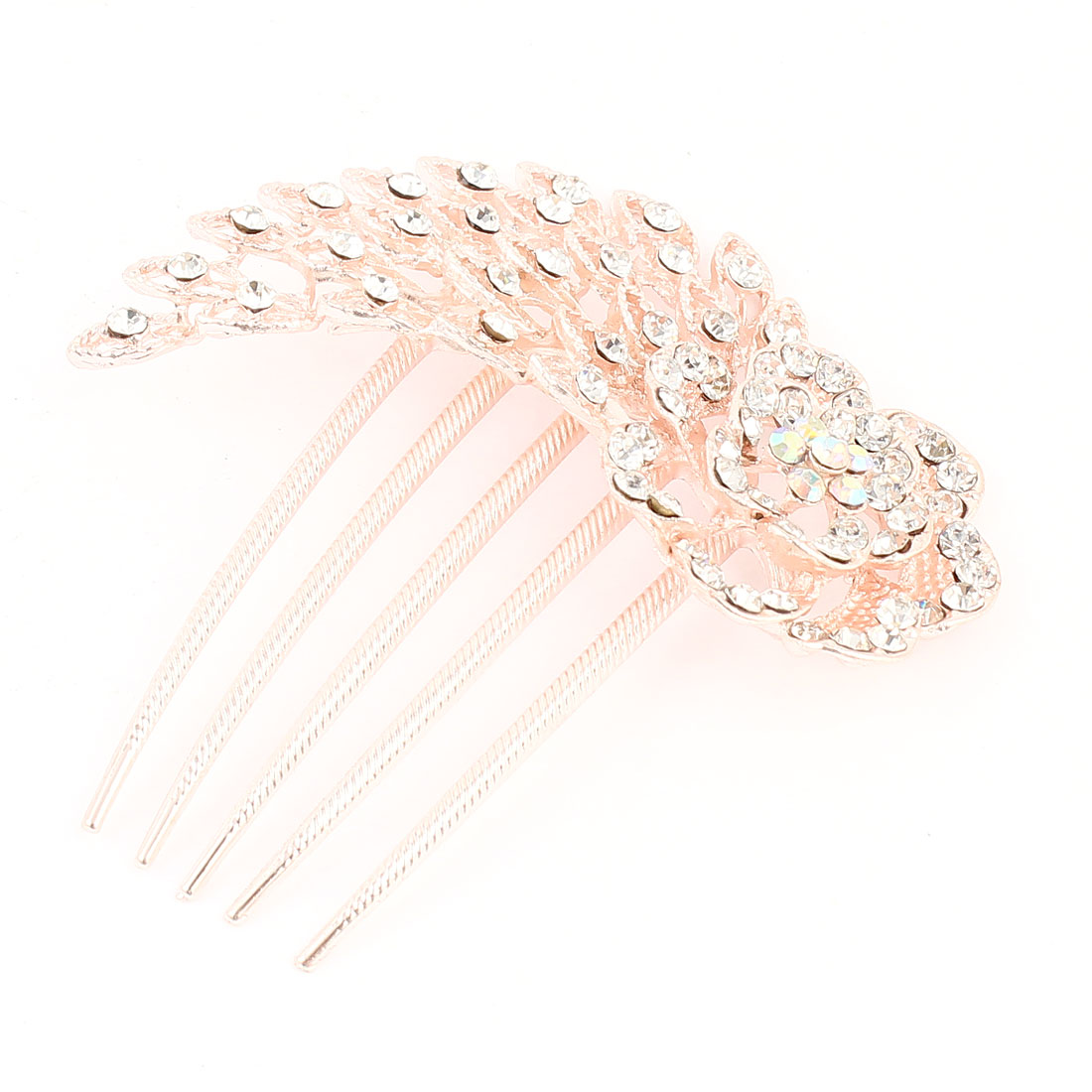 Lady Pink Flower Design Clear Rhinestone Detailing Metal Comb Hair Clip