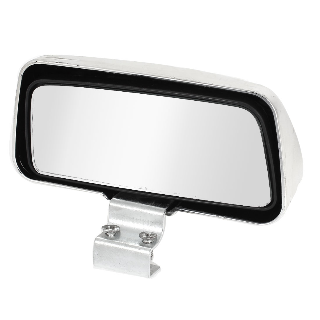 Silver Tone Case Adjustable Rectangle Convex Vehicle Rear View Blind Spot Mirror