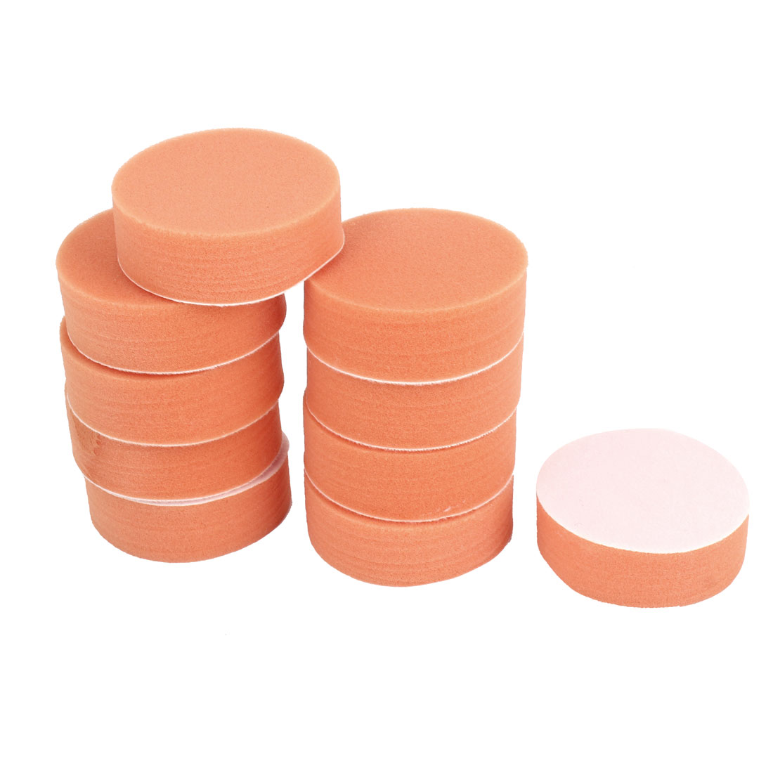 10 Pcs Orange Round Soft Sponge Car Washing Cleaning Pad Cushion 80mm Dia