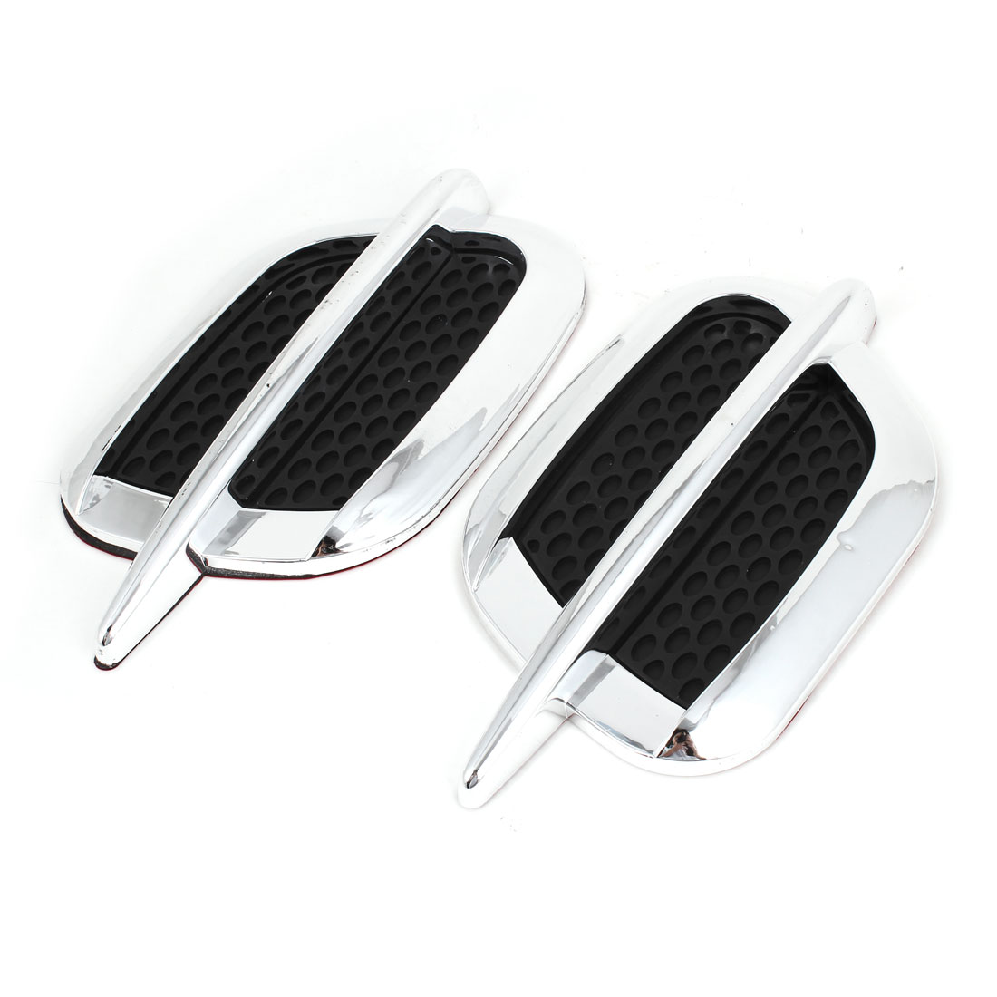 2 Pcs Shield Shape Black Silver Tone Air Flow Vent Fender Stickers for Car
