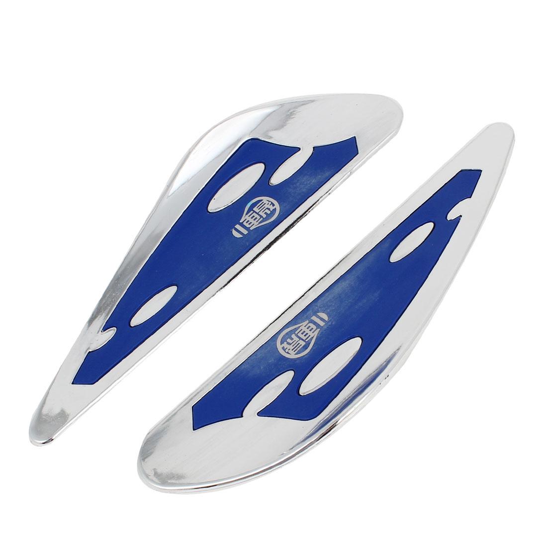 2 Pcs Car Auto Blue Silver Tone Windshield Wiper Wing 18cm x 4.5cm