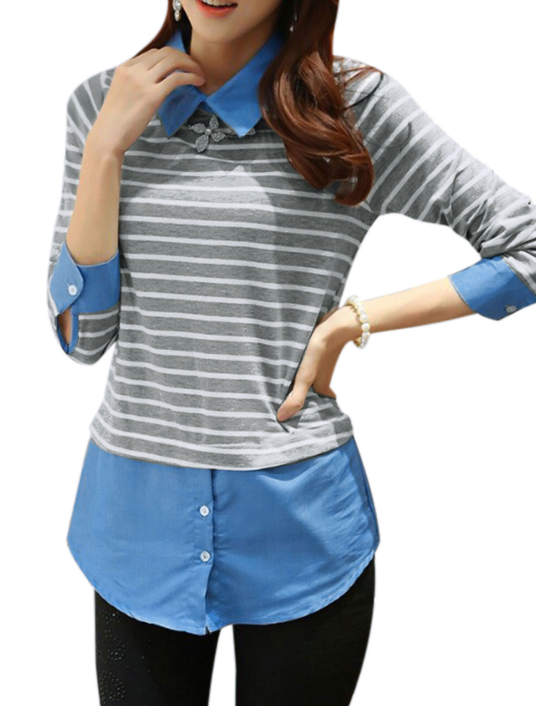 Women Turndown Collar Layered Shirts Stripes Panel Trendy Shirt Light Gray XS
