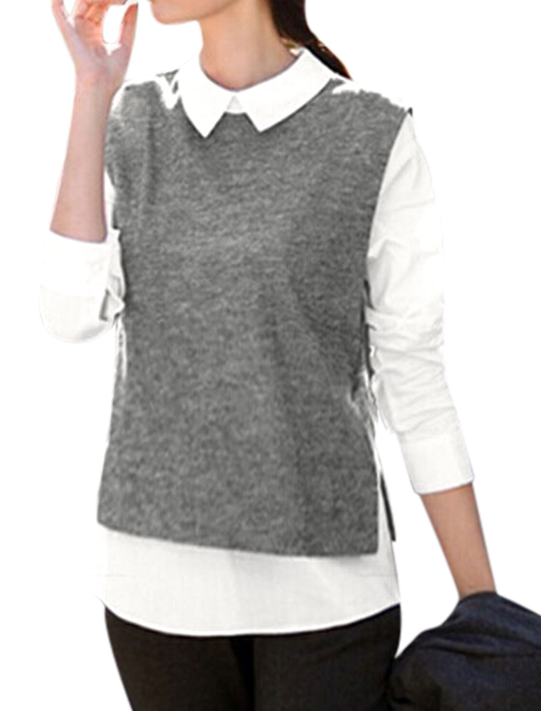 Ladies Turndown Collar Layered Shirts Panel Trendy Shirt Dark Gray XS