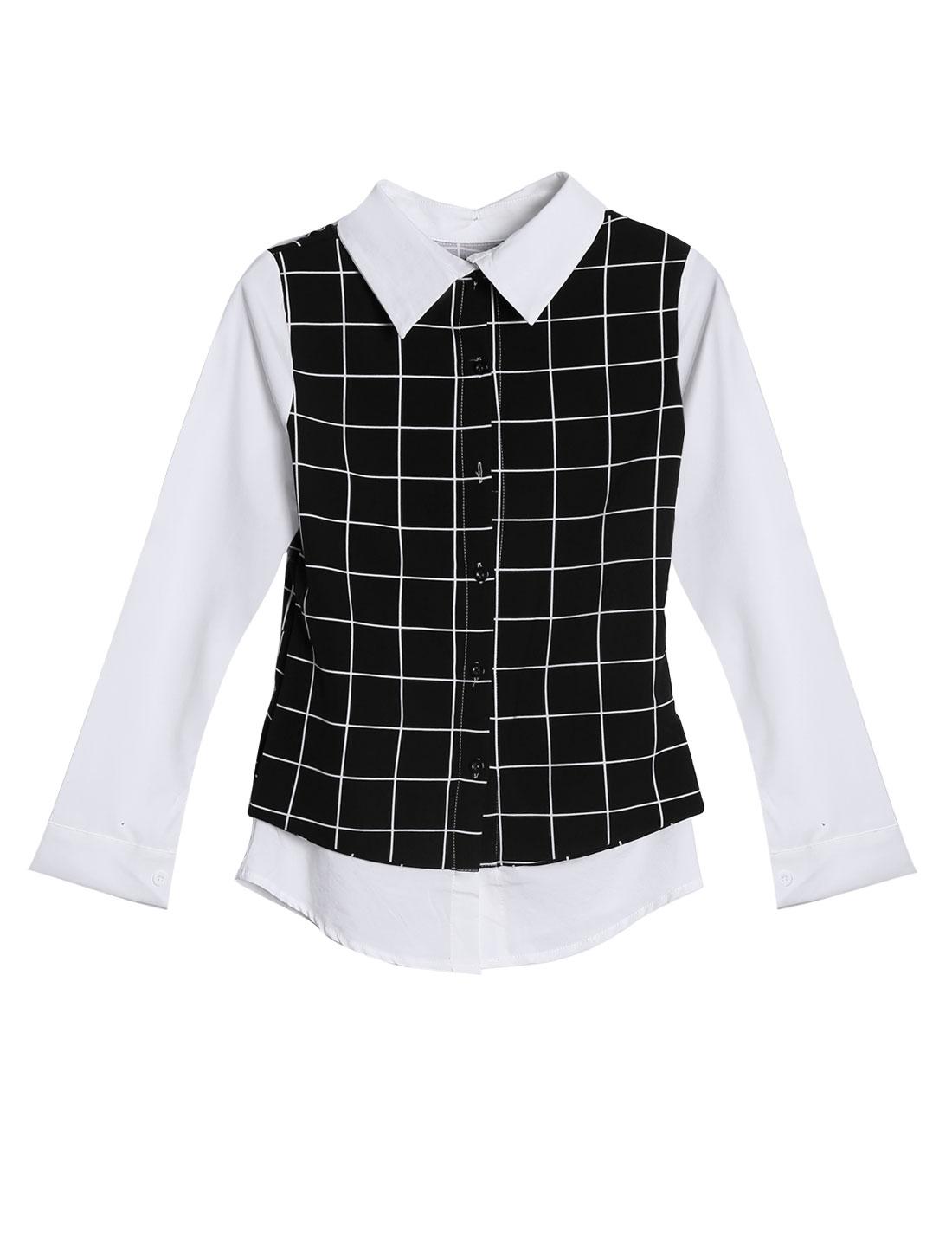 Lady Plaids Pattern Single Breasted Back Casual Shirt Black White XS