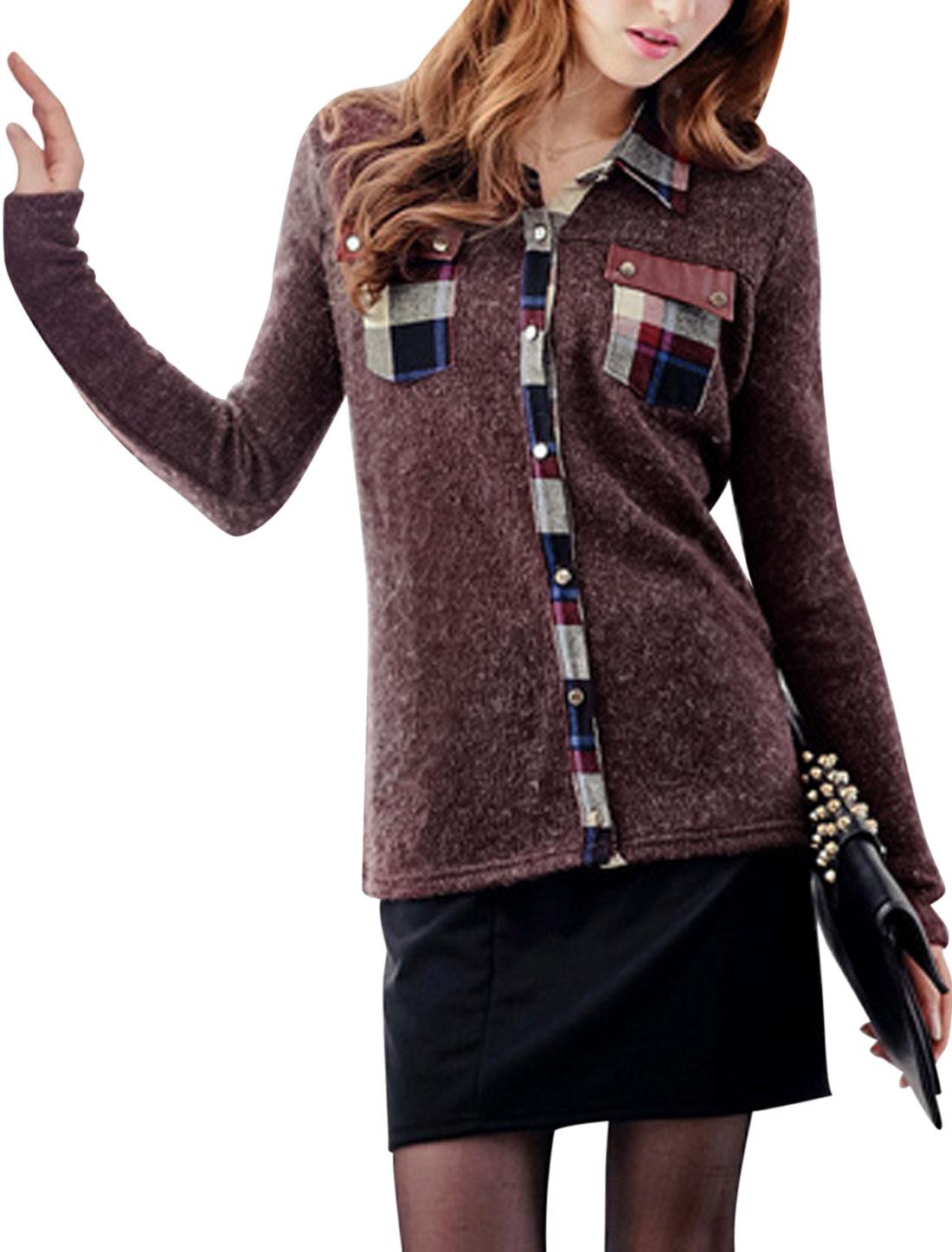 Ladies Dark Burgundy Long Sleeves Single Breasted Point Collar Splice Shirt S