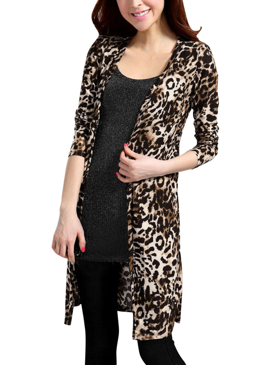 Women Long Sleeve Leopard Prints Front Opening Tunic Cardigan Black Brown S