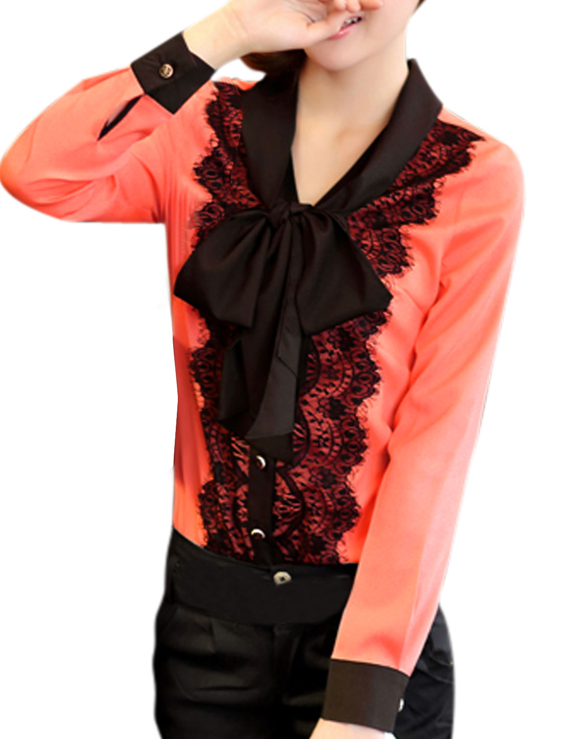 Ladies Coral Long Sleeves Button Closure Tie Bow Neck Spliced Lace Shirt M