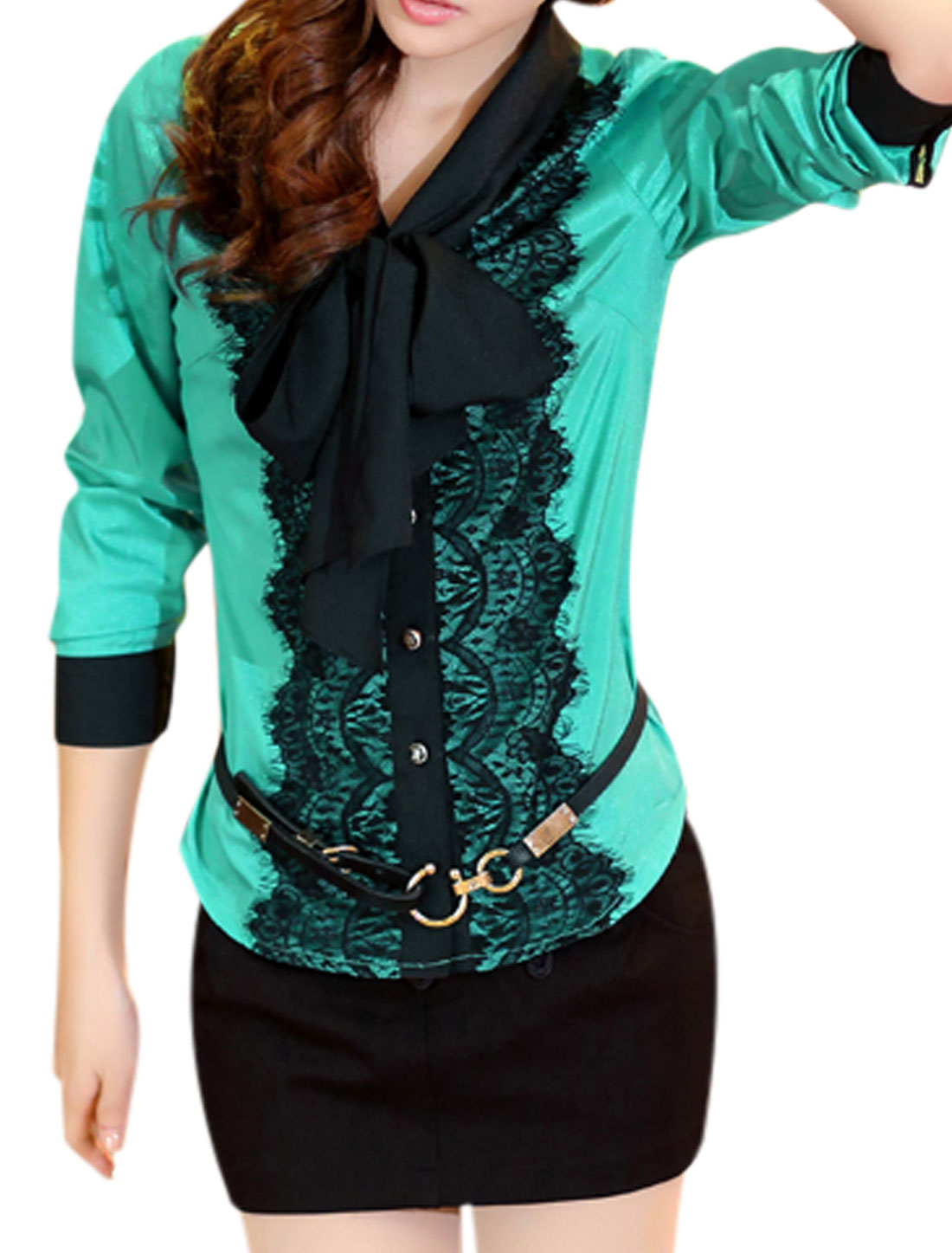 Ladies Aqua Long Sleeves Single Breasted Tie Neck Lace Splice Button Cuffs Shirt M